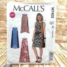 McCalls 7403 Womens Plus Size Tent Dress Sz Large XXL Uncut Sewing Pattern #McCall