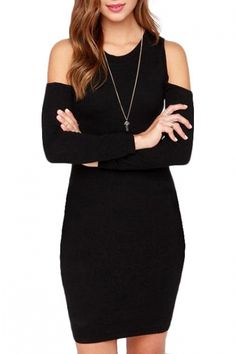 Black Plain Cutout Shoulder Round Neck Long Sleeve Skinny Dress