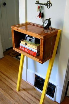 beautiful small table or shelf, no holes for my rented apartment, easy diy idea