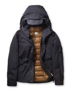 Microreps 60/40 Poly Cotton Thermo Lined Hooded Down Jacket in Black