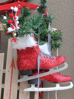 Glittered ice skates for Magic Brush Christmas fund in Collectibles, Decorative Collectibles, Ornaments   eBay
