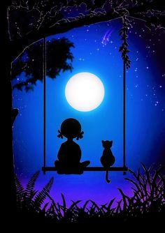 Girl & Cat on Swing ~ Window Cling ~ Full Moon Silhouette ~ Stained Glass Color ~ Sun-catcher ~ Window Art ~ Size or by WindowClingsGalore on Etsy Oil Pastel Art, Oil Pastel Drawings, Art Drawings, Window Clings, Window Art, Cute Wallpaper Backgrounds, Cute Wallpapers, Girl And Cat, Shadow Painting