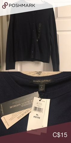 Shop Women's Banana Republic Blue size LP Cardigans at a discounted price at Poshmark. Navy blue cardigan from Banana Republic. Navy Blue Cardigan, Sweater Cardigan, Banana Republic, Cardigans, Sweaters For Women, Best Deals, Closet, Things To Sell, Style