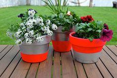 DIY Neon & Metallic Planters - great makeover for old terra-cotta pots