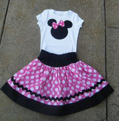 Minnie Mouse skirt and CUSTOM shirt PINK