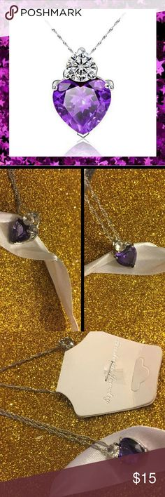 Silver ??Amysthst?? Heart Pendant Necklace Beautiful purple heart statement necklace Brand new with tags Sterling silver Amethyst & Clear Crystal 16in Chain Next day shipping Jewelry Necklaces