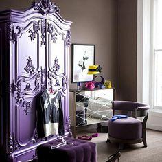 Victorian Purple furniture   decorar con muebles antiguos-armario frances pintado-french antique ...