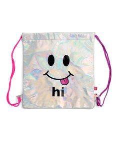 Loving this Silver Holographic 'Hi Bye' Drawstring Bag on #zulily! #zulilyfinds