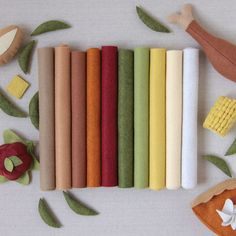 Wool Felt // Feast Collection // 9x12, 10 sheets for $9...matching embroidery thread pack also available.  Perfect colors for Autumn crafts!  {Benzie Design}