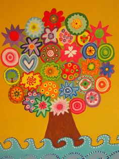 Arbol de mándalas Preschool Crafts, Crafts For Kids, Arts And Crafts, Paper Palm Tree, Fall Crafts, Diy Crafts, Library Themes, Classroom Art Projects, Collaborative Art