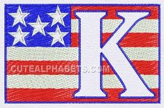 Patriotic font - Cute Alphabets - Embroidery Fonts