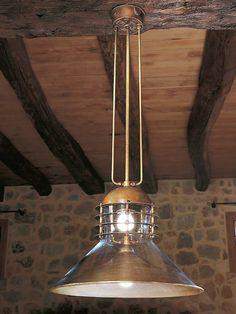 Direct-indirect light brass pendant lamp TAMER by Aldo Bernardi