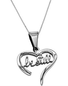 Handwriting Be Still Heart Necklace - Christian Necklace for $23.95   NOTW.com