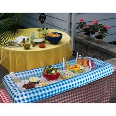 BigMouth Inc Inflatable Blue Gingham Serving Buffet,