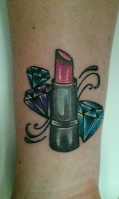 Diamonds tattoo rabiscos pinterest in color love for Love lipstick tattoo