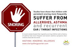 Childhood snoring can affect up to 10% of the U.S. pediatric population.   http://www.clarityallergycenter.com/conditions/childhood_snoring/