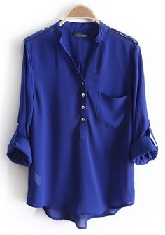 Sapphire Blue Epaulet Buttons V-neck Pockets Chiffon Blouse - Blouses - Tops Passion For Fashion, Love Fashion, Autumn Fashion, Womens Fashion, Looks Style, Style Me, Fall Outfits, Cute Outfits, Modest Outfits