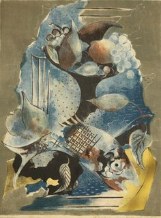 Serge Férat Still Life with Fruit and Fish lithograph