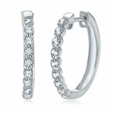 Certified Brilliance� 1/7 ct. tw. Diamond Wave Hoop Earrings in 14K Gold available at #HelzbergDiamonds