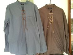 Mens Pioneer shirts re-made from a regular shirt. These are leather-laced and are very authentic for that Pioneer event you are participating Pioneer Costume, Trek Ideas, Mountain Man Rendezvous, Pioneer Clothing, Pioneer Trek, Sewing Men, Cycling T Shirts, Family Outfits, Western Outfits