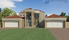 A 5 bedroom double storey house plan for sale. Find modern 5 bedroom house plans with 4 garages, 5 bedroom Tuscan house plans with photos and 4 Bedroom House Designs, 5 Bedroom House Plans, Garage House Plans, Tuscan House Plans, Modern House Floor Plans, House Plans For Sale, House Plans With Photos, Double Storey House Plans, House Plans South Africa