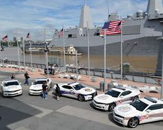 The Fueled By The Fallen 9/11 Angels Cruisers Chevrolet Camaro RS cars appeared in front of USS New York