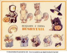 Benjamin and Emma Bushytail Halloween paper dolls