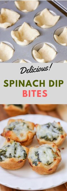 Spinach Dip Bites Spinach Dip Bites - This favorite appetizer is filled with spinach, artichokes, and three different cheeses, all baked into a crescent dough cup. Spinach Dip B. Vegetable Appetizers, Vegetarian Appetizers, Finger Food Appetizers, Appetizer Dips, Appetizer Recipes, Holiday Appetizers, Italian Food Appetizers, Christmas Finger Foods, Gluten Free Puff Pastry
