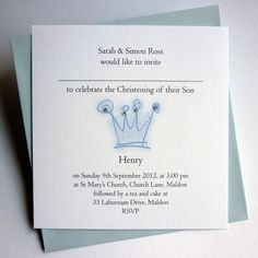 Crown Prince Christening Invitations : Val Carr, Christening Invitations, Personalised Stationery and Gifts @ Val Carr UK