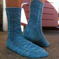 "Start date: Sept 16, 2015   Completion date: Sept 25, 2015   Pattern: HiyaHiya Winged Fairy Socks   Yarn: Wol met Verve sock hand-dyed   Needles: HiyaHiya 9"" circ 2.75 mm   Notes: Cuff: 12 rds / Leg: 5 pattern reps / Heel flap: 30 rows in total / Foot: 6 pattern repeats. Fit is great!  --- Majonkie (Ravelry Name) said."