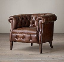 "1930s English Tufted Leather Tub Chair, $1,525, 32""W x 35""D x 30'H"