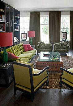 chartreuse and watermelon pink
