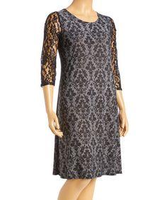 Look at this #zulilyfind! Black & Gray Damask Lace-Sleeve Shift Dress - Plus #zulilyfinds