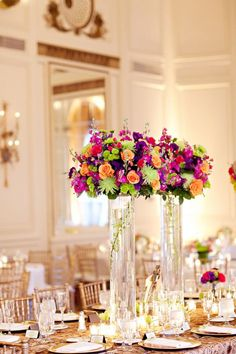Tall Colorful Vibrant Wedding Centerpieces