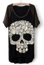 Black Short Sleeve Skull Print Dipped Hem T-Shirt $21.61