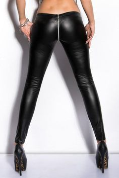 Sexy Womens Wet Look Zippered Faux Leather Slim Leggings PU Pants Black Fashion #Adogirl