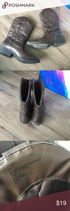 Target Cowboy boots  sz7.5 Brown Worn once. Like new condition. Super stylish and comfy. From non-smoking, non-pet home.   Add to bundle to save on shipping costs! Don't forget to add any two things in my closet and receive an extra 10% off! no trades.  About me: Please buy with confidence. I work to make sure my clients are happy! I buy similar styles, trends, brands and sizes, please follow me to see new styles added every day. Target Shoes Ankle Boots & Booties
