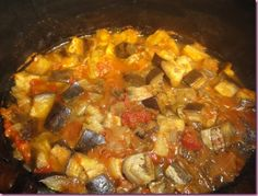 Crock-pot Eggplant Curry....I added a can of coconut milk! Delish!!!