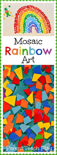 Love the rainbow theme for St. Patrick's Day. This Mosaic Rainbow is beautiful and a simple #art activity for #kids.