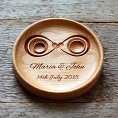 Handmade Custom Wood Wedding Ring Holder (Infinity), Ring Bearer Pillow Alternative, Ring Plate, Ring Dish