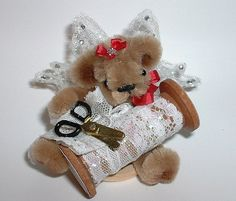 Miniature Pipe Cleaner Fairy Bear with Wooden Bobbin from Tiny Teddies by Elke