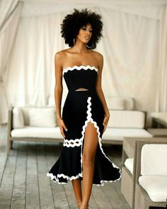 The use of the Rick Rack braid made this outfit a blast. - Out Trend Clothes Classy Outfits, Chic Outfits, Beautiful Black Dresses, Evening Dresses, Summer Dresses, Mode Outfits, Derby Outfits, Mode Style, African Fashion