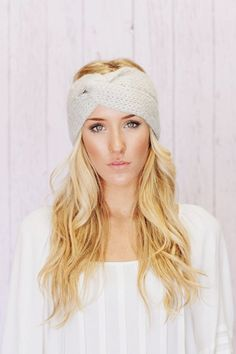 Gray Knitted Crochet Ear Warmer Headband