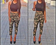 Camo Joggers Pants For Women Camo Fashion, Dope Fashion, Fashion Outfits, Camo Jogger Pants, Pretty Girl Swag, Got The Look, Swagg, Types Of Fashion Styles, Clubwear