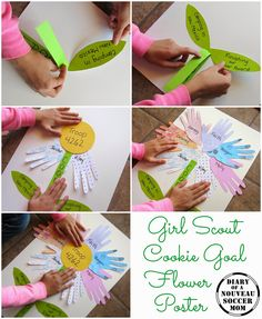 Such cute cookie booth ideas on this blog! Pinning for later! The Diary of a Nouveau Soccer Mom: Make a Girl Scout Cookie Goal Flower Poster
