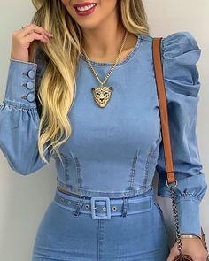 Blue Denim Shirt, Denim Top, Blouse En Jean, Corset Blouse, Trend Fashion, Looks Chic, Ruffles, Blouse Online, Casual Tops