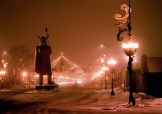 A beautiful photo of downtown Alexandria at holiday season. The statue of Big Ole has stood tall for decades overlooking Main Street. .(aka Broadway)