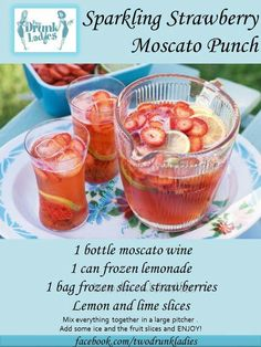 Sparkling strawberry Moscato punch