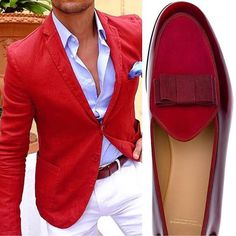 We are God' Perfect Creation.Beautiful of all Worlds: Weekend Ensemble Red Blazer Outfit, Blazer Outfits Men, Casual Outfits, Men Blazer, Gentlemans Club, Men Street, Gentleman Style, Look Chic, Stylish Men
