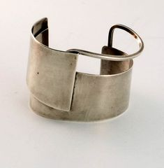 Cuff | Wide sterling cuff by mid 20th century New York jeweler, Frank Miraglia.  another angle